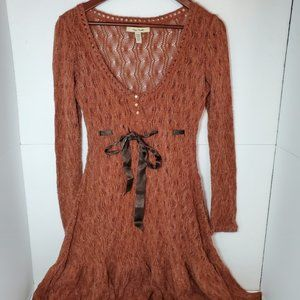 Free people crochet knit long sleeve dress small